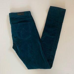 AG Velvet Jeans 26 The Legging Super Skinny Teal